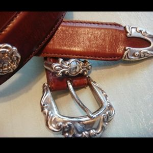 Vintage Fossil Silver Concho Leather Belt L